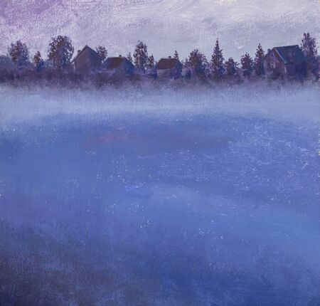 Misty foggy village lake with nightly village houses on shore. Russian night landscape in watercolor painting with acrylic oil Reklamní fotografie