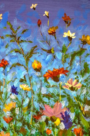 Field of beautiful spring flowers on blue sky background. Glade of cornflowers and daisies oil painting on canvas. Impasto artwork. Impressionism art.