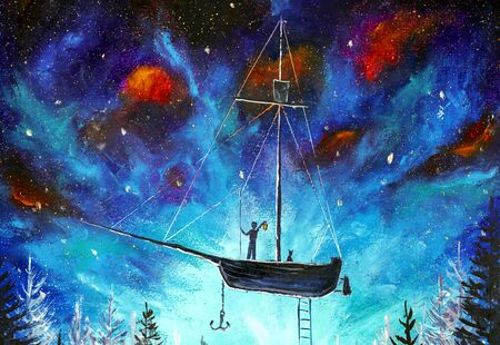 Space travel on a pirate ship Peter Pan watercolor painting on acrylic on canvas. A boy on a flying ship in starry space.