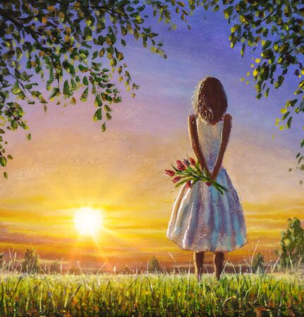 Concept of female loneliness. Acrylic painting lonely girl with bouquet of wildflowers looks into distance at sunset dawn of sun. Emotion of loneliness and expectation.