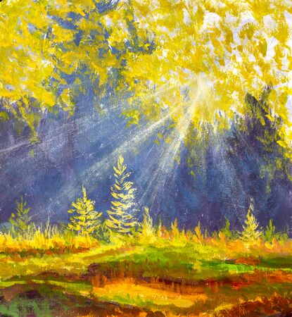 Autumn trees in wood gold orange forest in watercolor oil acrylic painting.