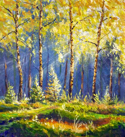 Beautiful sunny forest oil painting. The rays of the sun through the autumn yellow foliage of birch trees. Sunny meadow in the forest Foto de archivo