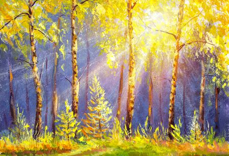 Beautiful sunny forest oil painting. The rays of the sun through the autumn yellow foliage of birch trees. Sunny meadow in the forest