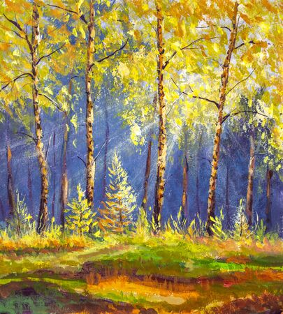 Oil fine art Landscape painting showing wild autumn trees in forest lit by the early morning sun background warm nature artwork Stock Photo