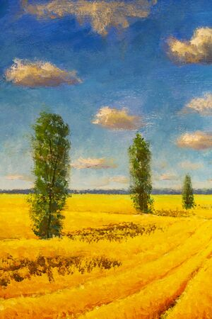 Beautiful summer countryside landscape oil painting vertical format. Yellow ripe field, tall cypress poplar trees and large blue sky with fluffy clouds