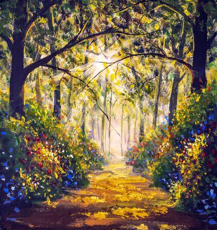 Sonnige Waldholzbäume Original Ölgemälde. Straße in der Sonne Sommerblumen Park Gasse Impressionismus Kunst handgemalte Landschaftsgemälde Kunstwerke