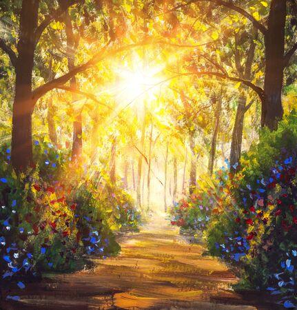 Sonnige Waldholzbäume Ursprüngliches Ölgemälde. Straße in der Sonne Sommerblumen Park Gasse Impressionismus Kunst handgemalte Landschaftsgemälde Kunstwerke