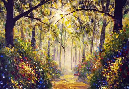 Sunny forest wood trees Original oil painting. Road in sun summer flowers park alley impressionism fine art hand painted landscape paintings artwork Stock Photo