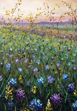Flowers field oil painting. Beautiful flower wildflowers landscape art by artist
