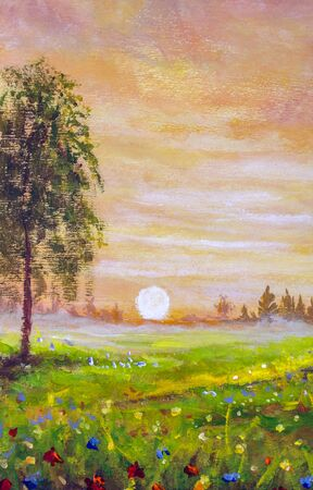 Beautiful Russian countryside landscape oil painting. Russian birches in flower field at sunset.