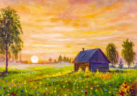 Original oil painting of old rural house on field flowers, beautiful wildflowers on beautiful sunset on canvas. Modern Impressionism.Impasto artwork.