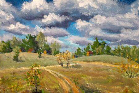 Original oil painting spring village rural farm landscape. Big clouds, russian house on canvas by artist. Peasant rustic landscape artwork. Impressionism art.