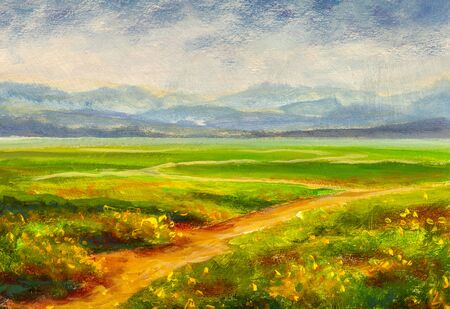 Summer landscape and country road on canvas hand drawn. Blossoming spring field. Sunny day, blue sky with light clouds. Original oil painting on canvas. Author painting.