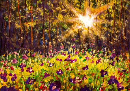 Oil painting landscape - Glade of flowers in a sunny forest