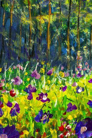 Oil painting landscape - Summer glade. Near forest glade purple flowers impressionism modern artwork Banque d'images