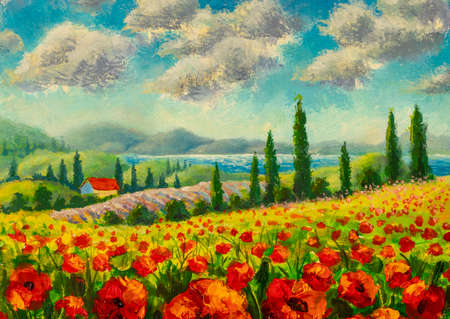 Beautiful Landscape with Poppies Flowers. Chianti Tuscany Italy colorful landscape oil painting