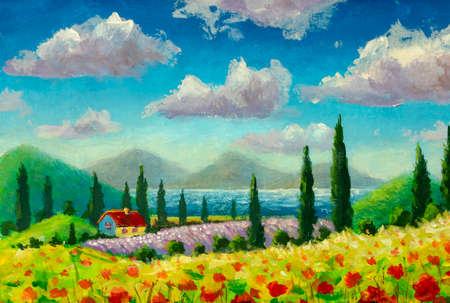 Sunny painting Beautiful summer landscape with field red flowers poppies, small house and cypresses in Tuscany, Italy