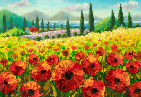 Original oil painting of flowers, beautiful field flowers in Tuscany, Italy on canvas. Modern Impressionism.Impasto artwork