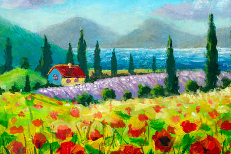 Oil painting Rural landscape with red flowers fields and country house in mountains by sea Standard-Bild