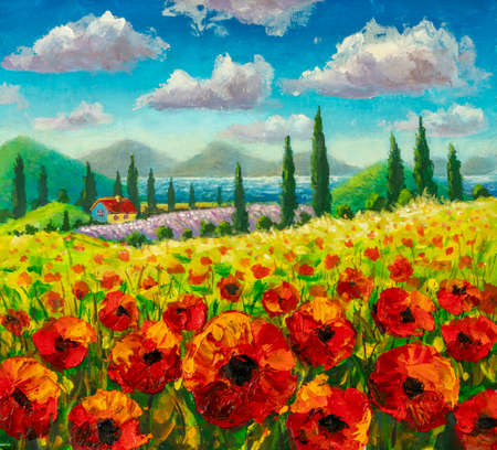 Painting Farm house, field of red flowers poppies, mountains and cypresses under summer sky in Tuscany landscape Standard-Bild