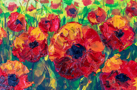 beautiful red flowers poppies palette knife impressionism oil painting on canvas Standard-Bild