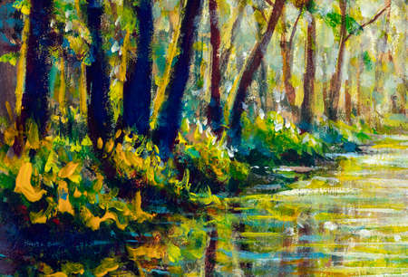 Autumn trees are reflected in the water of the river oil painting. autumn forest landscape illustration modern artwork Standard-Bild