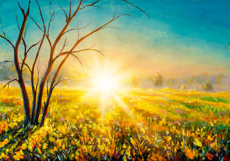 Warm first morning rays of sun on field, tree without leaves closeup landscape artistic hand painted acrylic painting background.