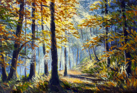 Oil painting beautiful forest with bright sun shining through the trees. Synny forest in canvas