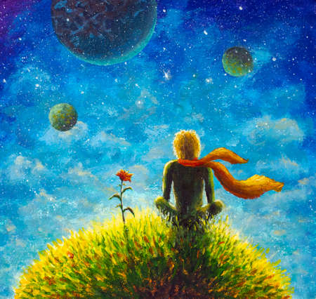 Original oil painting. The little Prince. Background.