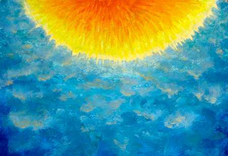 Bright yellow orange semicircle on blue sky background abstract oil painting. Hot sun and blue space - handmade background Standard-Bild