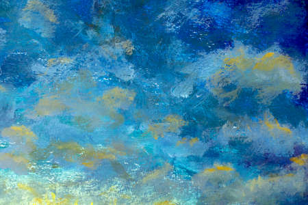 Bright blue sky and clouds background abstract oil painting blue space - handmade background illustration art
