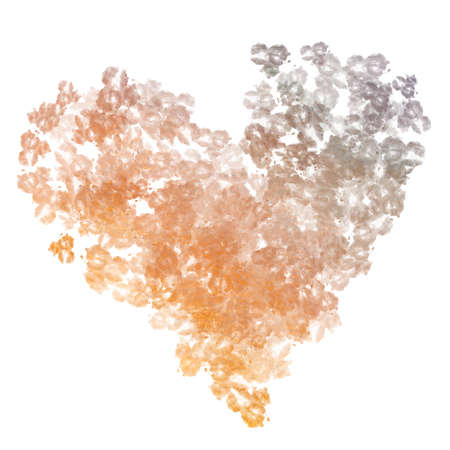 Abstract watercolor background in heart shape on white background