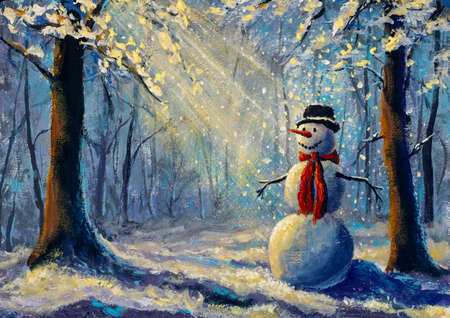 Oil painting happy snowman illuminated by rays of sun in winter forest modern art watercolor artwork
