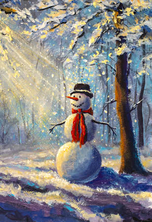 Vertical painting happy snowman in winter forest