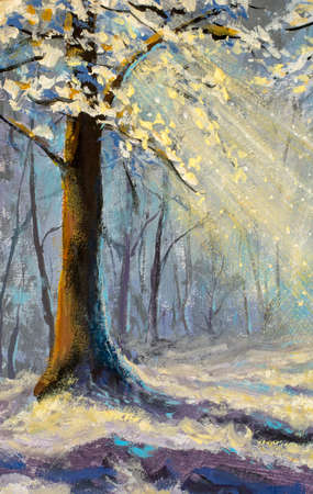 Vertical oil painting winter tree in magical christmas forest watercolor artwork Standard-Bild