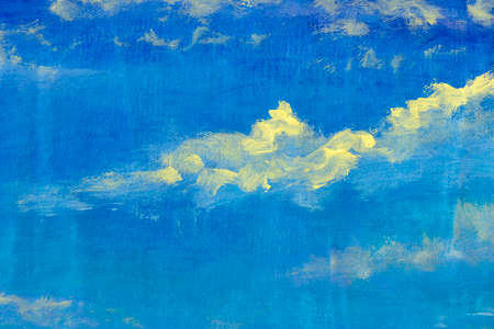 Beautiful blue sky with clouds abstract handmade oil painting watercolor on canvas for background Standard-Bild