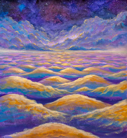 Beautiful night starry sky with fantasy clouds over waves of water or mountains and desert hills oil painting watercolor abstract art background for fantasy book or poster card