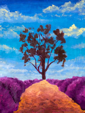 Beautiful landscape large dark tree and sandy orange path between purple lavender bushes handmade oil painting watercolor modern artwork