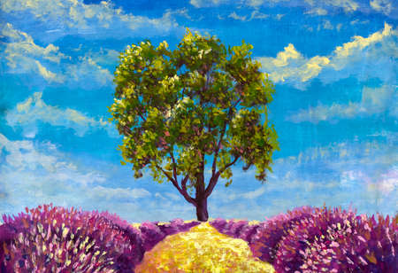 Beautiful landscape large green tree and sandy orange path between purple lavender bushes handmade oil painting watercolor modern artwork
