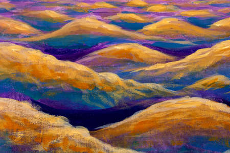 Fantasy art relaxation sea waves or desert mountains hills - oil painting watercolor Standard-Bild