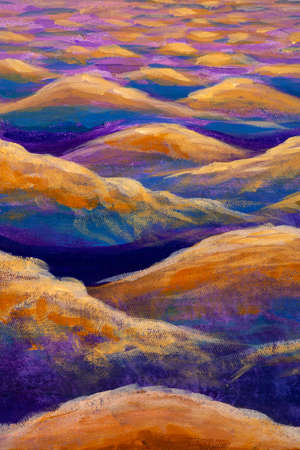 Abstract Relax Mountain Desert - Wave Oil Painting Watercolor