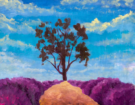 Oil painting warm summer landscape with beautiful tree, path and lush lavender bushes