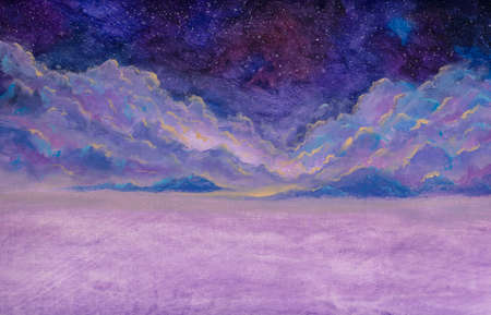 Panoramic beautiful landscape with night starry sky fantasy clouds over mountains hill handmade oil painting watercolor fantasy art panorama banner.