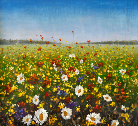 Original oil painting of flowers, beautiful looming field on canvas. Wildflowers. Modern Impressionism. Impasto artwork. Foto de archivo