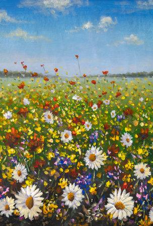 Original oil painting of flowers, beautiful looming field on canvas. Wildflowers. Modern Impressionism. Impasto artwork.