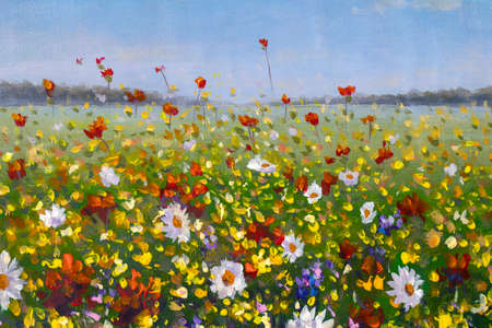 Original oil painting of flowers, beautiful field flowers on canvas. Summer field of flowers. Modern Impressionism. Impasto artwork. Spring art.