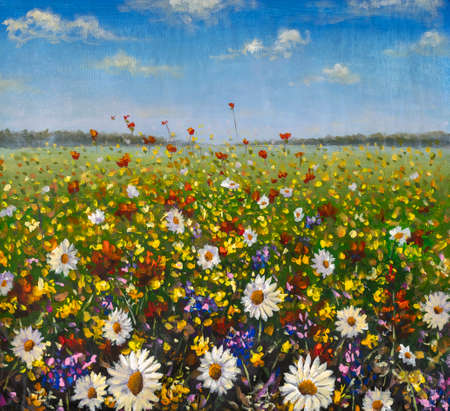 Flowers field oil painting artwork background summer landscape impressionism art