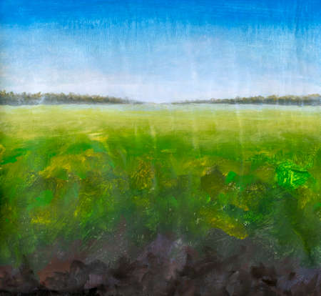 Oil painting summer green grass on field landscape impressionism artwork