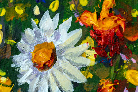 Oil painting close-up flowers. Big wild flower white chamomile closeup macro on canvas. Modern Impressionism. Impasto artwork.
