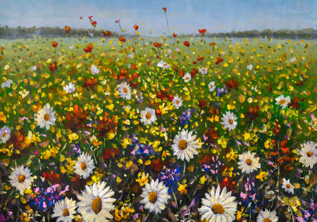 Flowers paintings monet wildflowers white daisies, red poppies and yellow beautiful flowers in grass on field painting claude impressionism paint landscape flower meadow oil